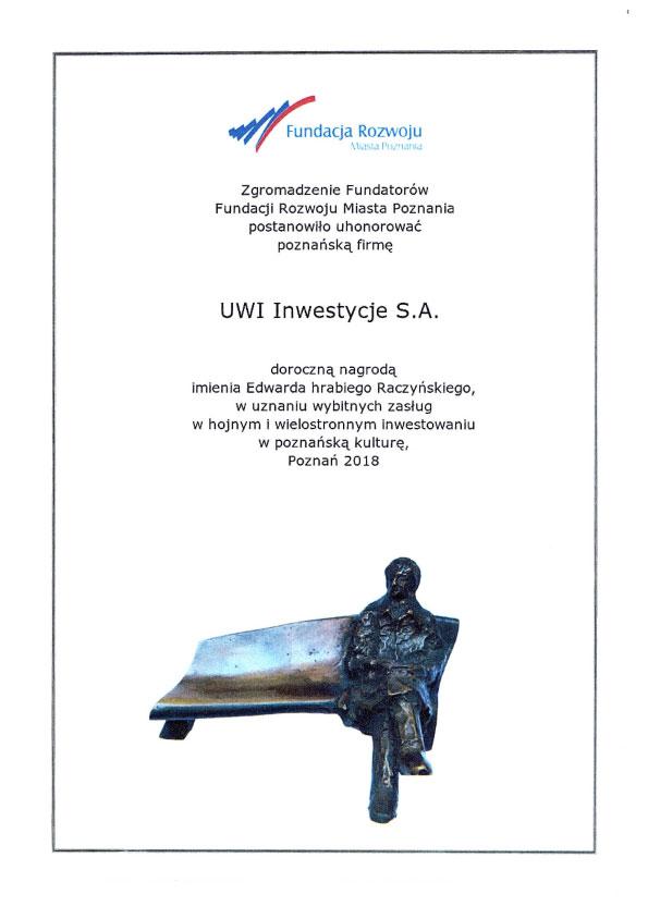 Nagroda dla UWI Inwestycje S.A.